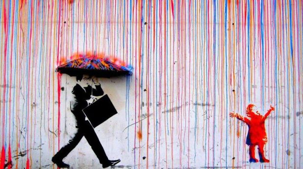 colorful rain, banksy